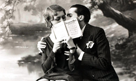 Valentine's Day books interactive: a postcard of a couple, c 1920s